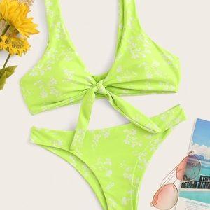 Neon Lime Green Front Tie Floral Bikini